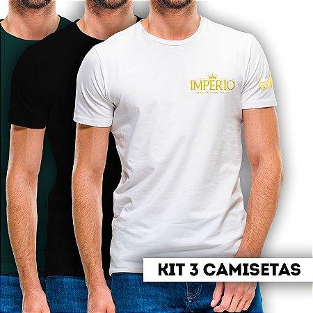 Kit 3 Camiseta MASCULINA Cerveja Império Puro Malte