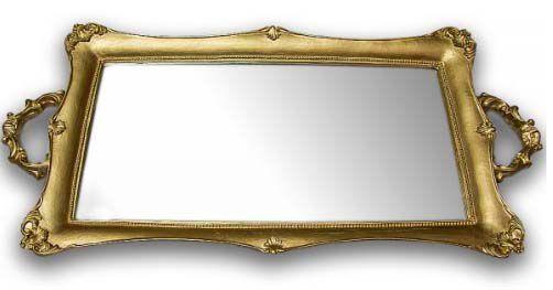Bandeja Retangular Espelho - Dourada G