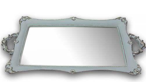 Bandeja Retangular Espelho - Azul e Prata