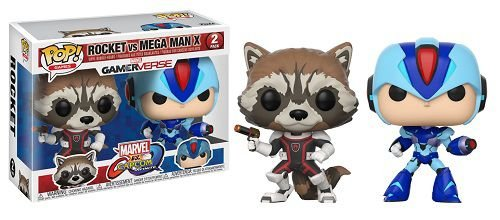 Bonecos Funko Pop Brasil - Marvel vs Capcom - Rocket Raccoon vs Megaman
