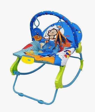 Cadeira Descanso Vibratória Balanço Musical 18 kg Rocker - Azul