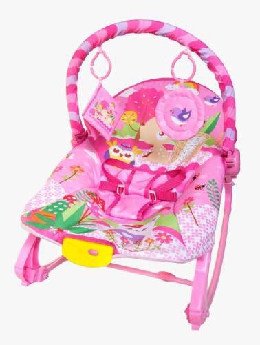 Cadeira Descanso Vibratória Balanço Musical 18 kg Rocker - Rosa