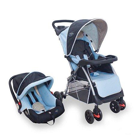 Carrinho De Bebê Com Bebê Conforto Smart Azul Baby Style