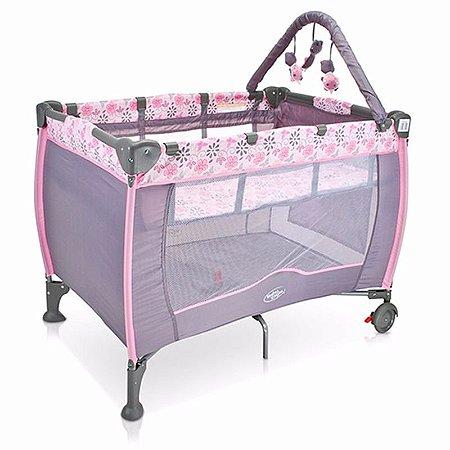 Berço Bebê Cercado PLUS Desmontável C/regulagem De Altura Móbile - Cor: Rosa com cinza Flores