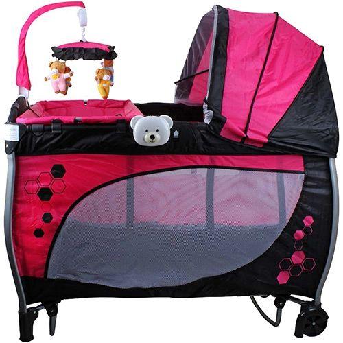 Berço Balanço com Trocador e Mobile Rosa - Baby Style