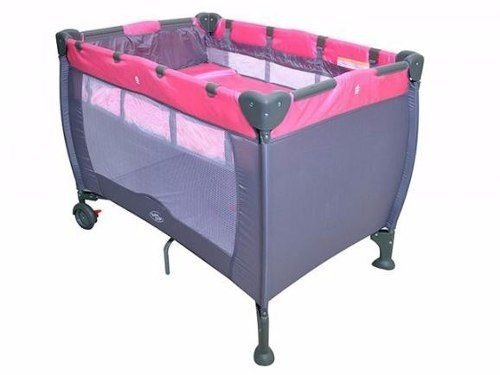 Berço Cercado Portátil Compacto Rosa Baby Style