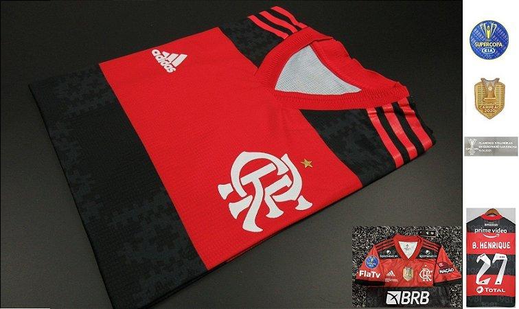 Camisa Flamengo SUPERCOPA DO BRASIL 2021 (Uniforme 1) - Modelo Jogador (com patrocínios)
