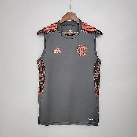Camisa Flamengo 2021 (regata - treino) - Cinza - (sem patrocínios)