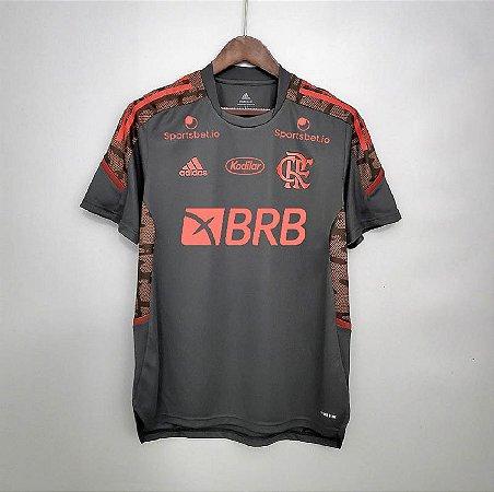 Camisa Flamengo 2021 (treino) - Cinza - (com patrocínios)