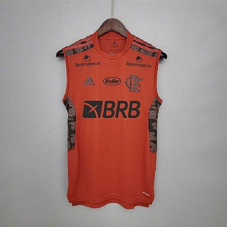Camisa Flamengo 2021 (regata - treino) - Vermelha - (com patrocínios)