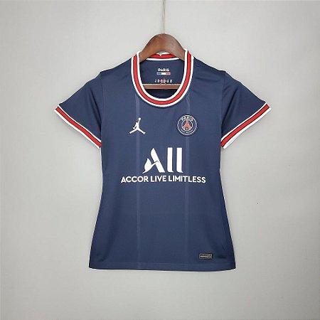 "Camisa Paris Saint Germain ""PSG"" 2021-22 (Home-Uniforme 1) - Feminina"