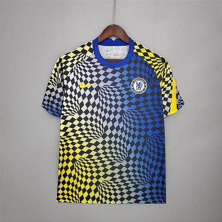 Camisa Chelsea (treino azul-amarela) 2021-22