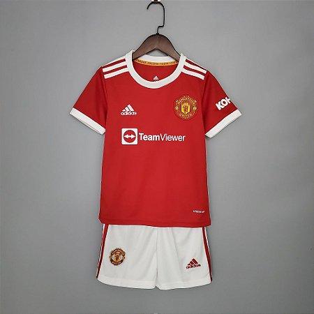 Conjunto Infantil (Camisa + Shorts) Manchester United 2021-2022 (Home-Uniforme 1)