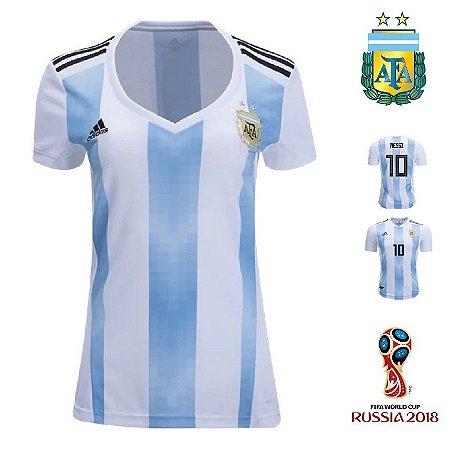 f58f427cac Camisa Argentina 2018 (Home-Uniforme 1) - Feminina - ACERVO DAS CAMISAS