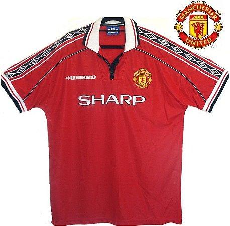 cc5c548c098a9 Camisa Manchester United 1998-1999 (Home- uniforme 1) - ACERVO DAS ...
