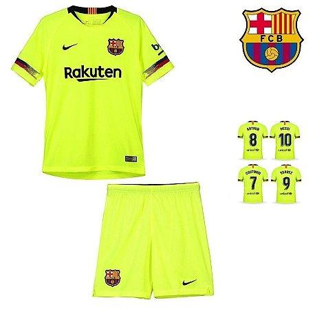 5365b674da666 Conjunto Infantil (Camisa + Shorts) Barcelona 2018-19 (Away-Uniforme ...
