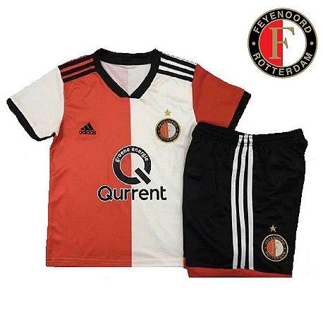 85fe1cc0a9 Conjunto Infantil (Camisa + Shorts) Feyenoord 2018-19 (Home-Uniforme ...