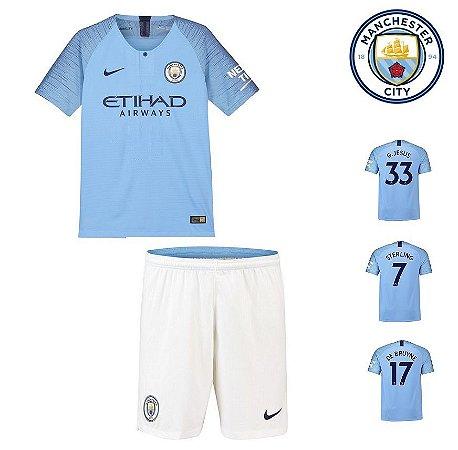 Conjunto Infantil (Camisa + Shorts) Manchester City 2018-19 (Home-Uniforme 4bf77d219fadb