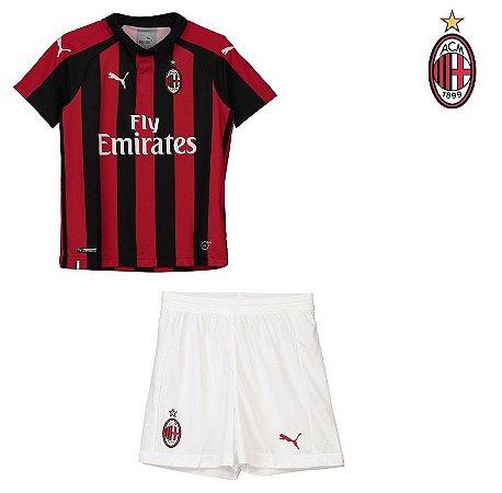 Conjunto Infantil (Camisa + Shorts) Milan 2018-19 (Home-Uniforme 1 ... 1bb1534b6bb9f