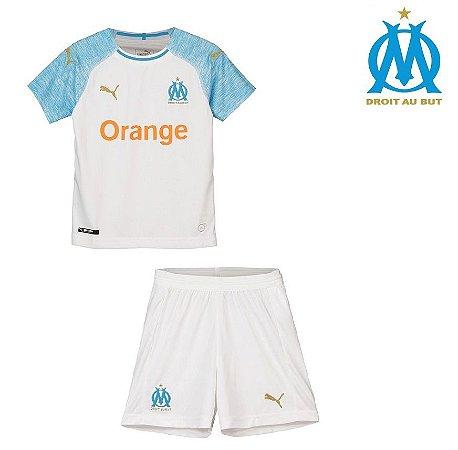 Conjunto Infantil (Camisa + Shorts) Olympique Marseille 2018-19 (Home- Uniforme 9021675e5a9f1