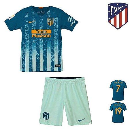 60f7049e7ad2a Conjunto Infantil (Camisa + Shorts) Atlético de Madrid 2018-19 (Third-