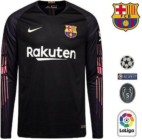 b8d4aca2ed Camisa Barcelona 2018-19 (Goleiro) -preta-