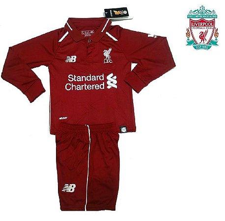 c8c5611bec Conjunto Infantil (Camisa + Shorts) Liverpool 2018-19 (Home-Uniforme ...
