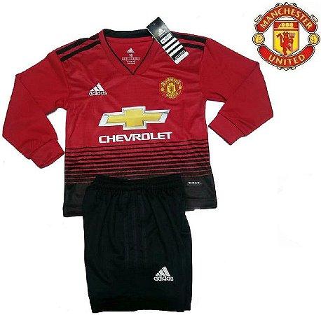 5e0eda1b64 Conjunto Infantil (Camisa + Shorts) Manchester United 2018-19 (Home-Uniforme
