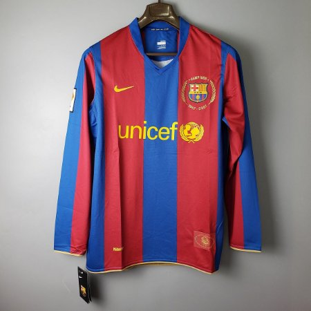 Camisa Barcelona 2007-2008 (Home-Uniforme 1) - Manga Longa