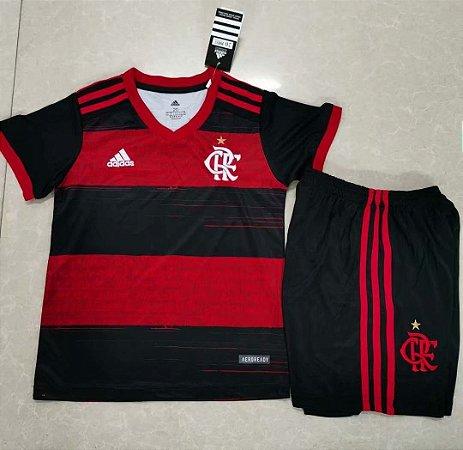 Conjunto Infantil (Camisa + Shorts Preto) Flamengo 2020 (Home-Uniforme 1)