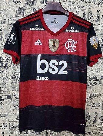 """Camisa Flamengo """"Libertadores 2020"""" (Uniforme 1) - Modelo Torcedor (com todos patrocínios)"""