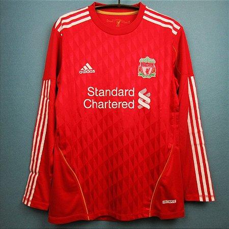Camisa Liverpool 2010 2011 Home Uniforme 1 Manga Longa Acervo Das Camisas