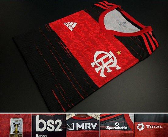 """Camisa Flamengo 2020 """"Com patch de Campeão Brasileirão 2019"""" (Uniforme 1) - Modelo Jogador  (com todos patrocínios)"""