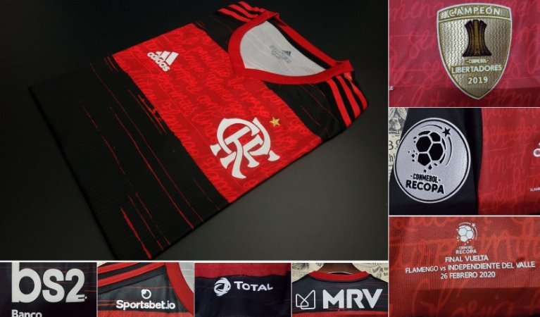 """Camisa Flamengo """"Recopa 2020"""" (Uniforme 1) - Modelo Jogador (com todos patrocínios)"""