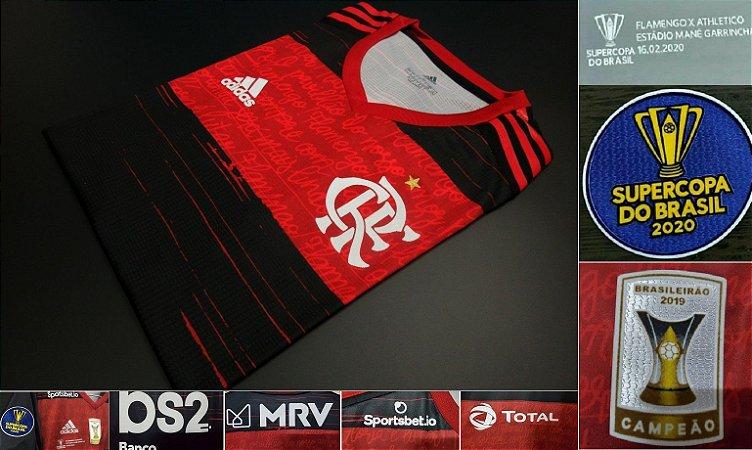 """Camisa Flamengo """"Supercopa do Brasil 2020"""" (Uniforme 1) - Modelo Jogador (com todos patrocínios)"""