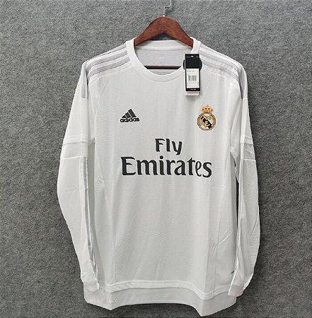 Camisa Real Madrid 2015-2016 (Home-Uniforme 1) - Manga Longa