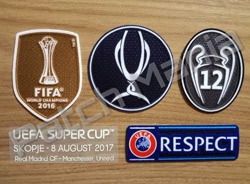 Kit com Patches Supercopa Da Uefa 2017 + match date + Campeão Mundial Fifa 2016