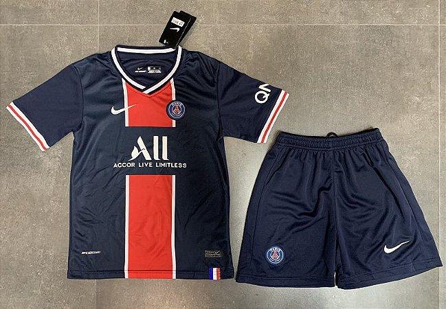 "Conjunto Infantil (Camisa + Shorts) Paris Saint Germain ""PSG"" 2020-2021 (Home-Uniforme 1)"