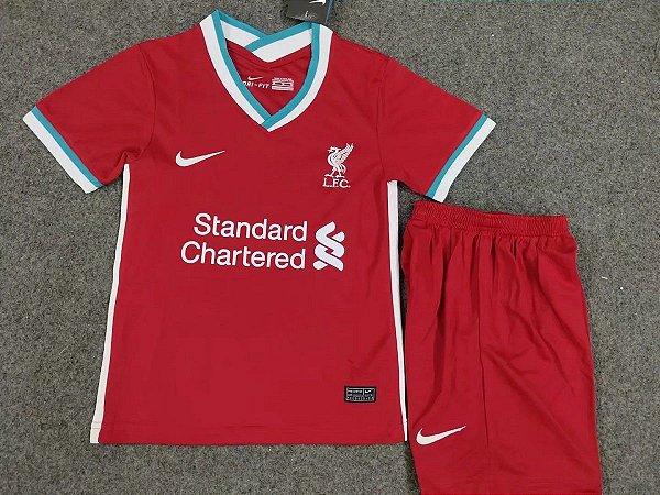 Conjunto Infantil Camisa Shorts Liverpool 2020 2021 Home Uniforme 1 Acervo Das Camisas