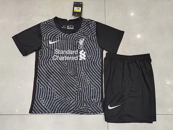 Conjunto Infantil (Camisa + Shorts) Liverpool 2020-2021 (goleiro)