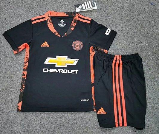Conjunto Infantil (Camisa + Shorts) Manchester United 2020-2021 (goleiro)