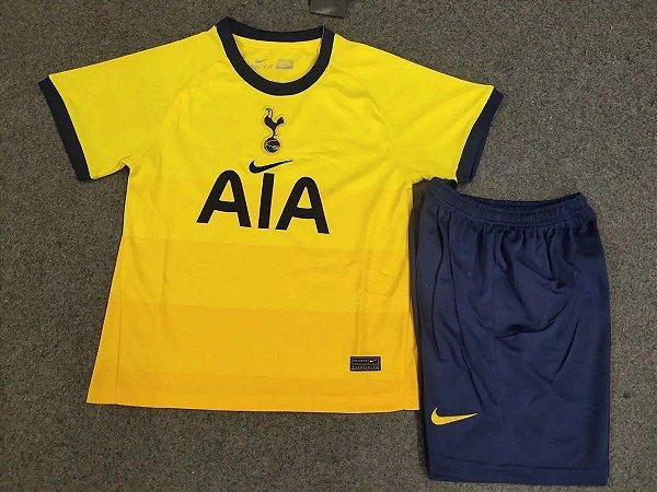 Conjunto Infantil Camisa Shorts Tottenham Hotspur 2020 2021 Third Uniforme 3 Acervo Das Camisas