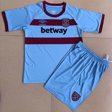 Conjunto Infantil (Camisa + Shorts) West Ham 2020-2021 (Away-Uniforme 2)