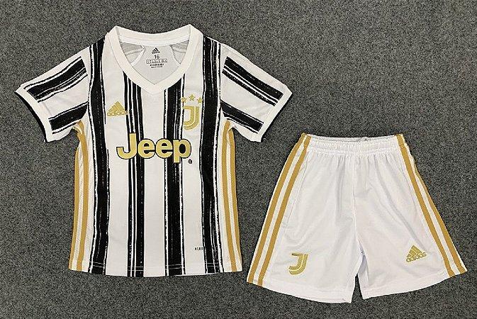 Conjunto Infantil (Camisa + Shorts) Juventus 2020-2021 (Home-Uniforme 1)