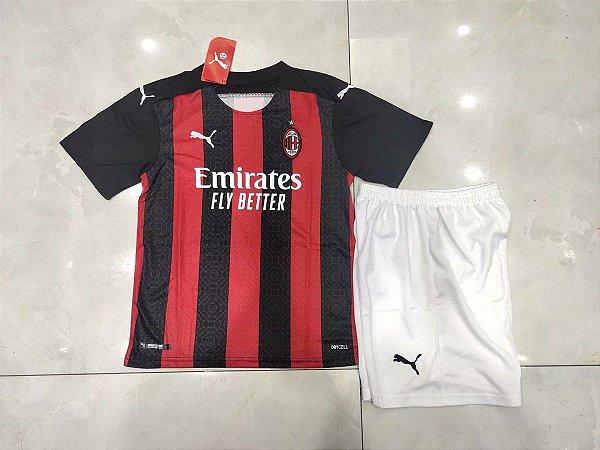 Conjunto Infantil (Camisa + Shorts) Milan 2020-2021 (Home-Uniforme 1)