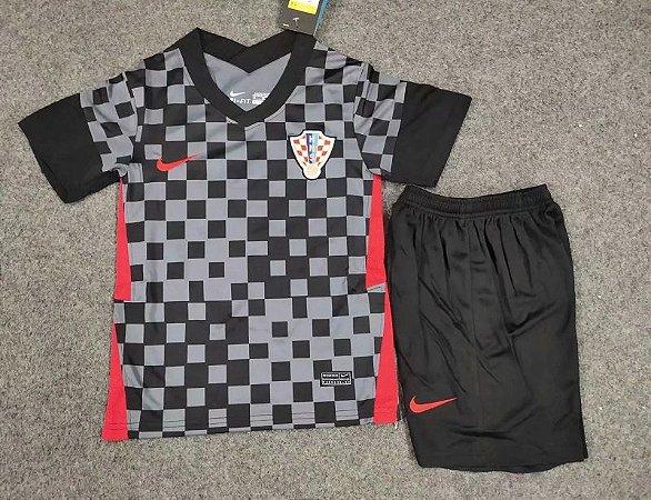 Conjunto Infantil (Camisa + Shorts) Croácia 2020-2021 (Away-Uniforme 2)