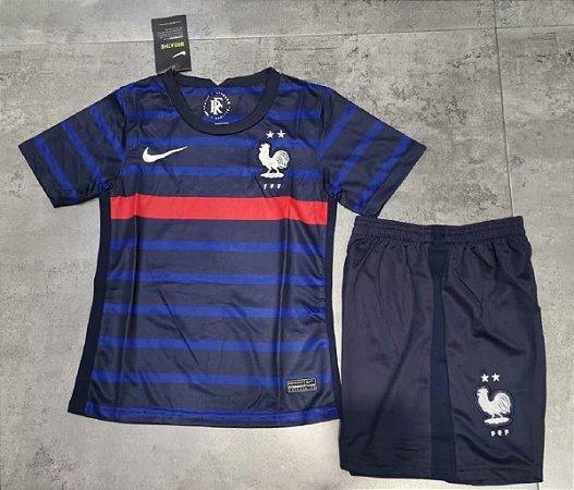 Conjunto Infantil (Camisa + Shorts) França 2020-2021 (Home-Uniforme 1)