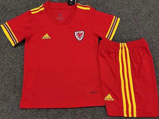Conjunto Infantil (Camisa + Shorts) País de Gales 2020-2021 (Home-Uniforme 1)