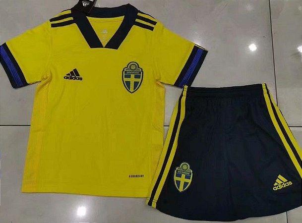 Conjunto Infantil (Camisa + Shorts) Suécia 2020-2021 (Home-Uniforme 1)