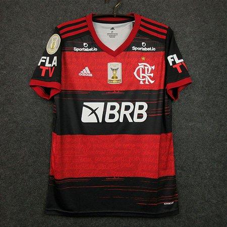 """Camisa Flamengo 2020 (Uniforme 1) """"FLA TV + Patches""""  -  (com todos patrocínios)"""